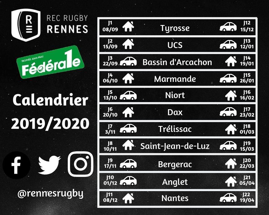 Calendrier Saison 2020.Rennes Rugby Federale 1 Rugby Calendrier Des Matchs Saison