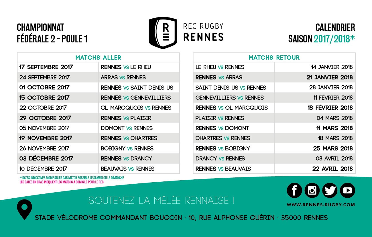 Rennes Rugby Federale 2 Calendrier Des Matchs Poule 1